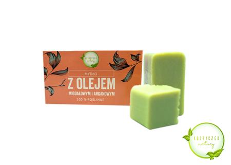 Mydło Naturalne z olejem migdałowym i arganowym 100% roślinne 100 g (1)